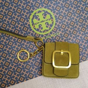 Tory Burch Suede Leather Mini Bag Wallet Key Ring